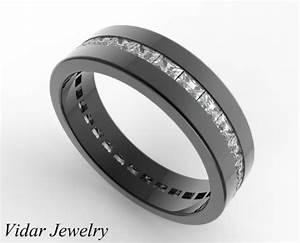 Black Gold Baguette Cut Diamond Wedding Band For Men