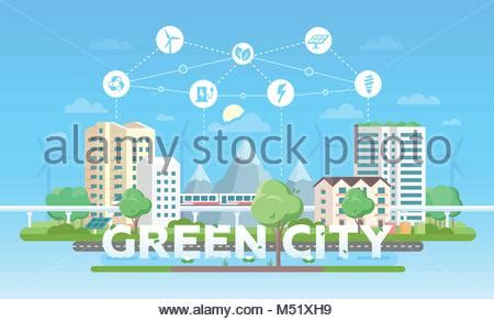 green silhouette eco city flat vector stock vector image green silhouette eco city flat vector stock vector Beautiful
