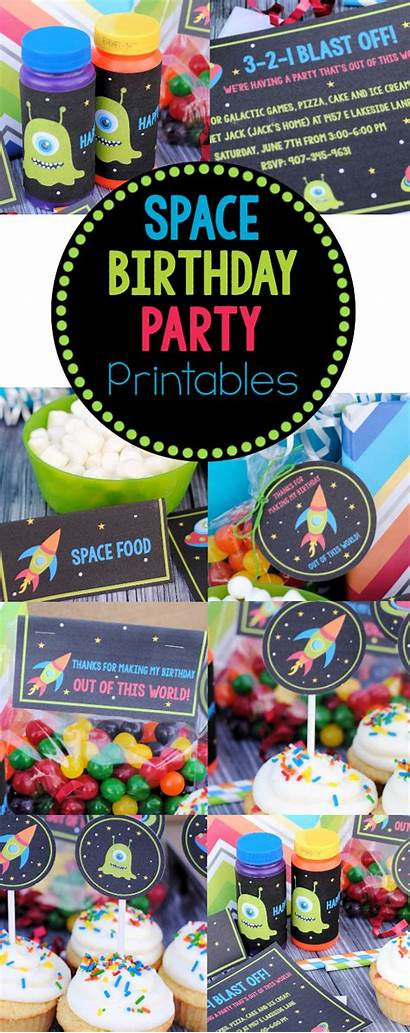 Space Birthday Party Invitations Printables Themed Printable