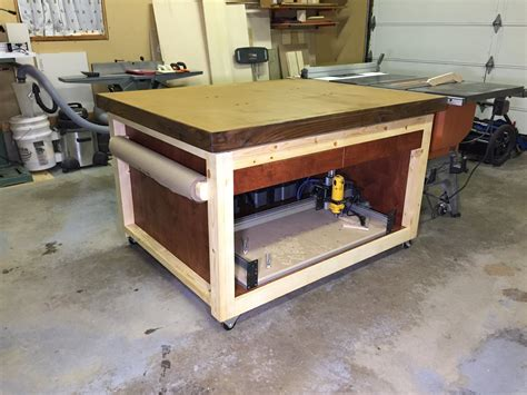 newly built outfeed assembly table
