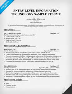 Entry Level Information Technology Resume Sles entry level information technology resume sle http resumecompanion it information