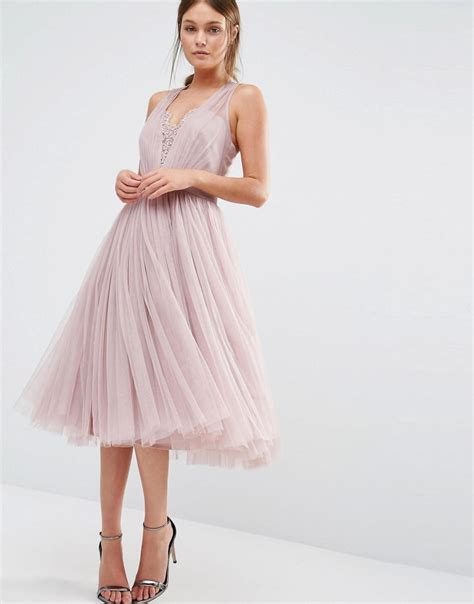 rosa dress maxidress embellished midi dress with tulle skirt in