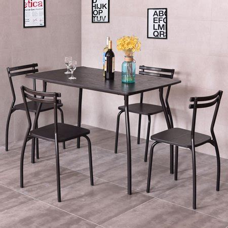 costway  piece dining set table   chairs home kitchen