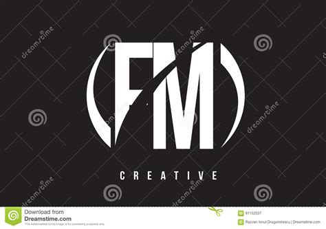 Fm F M White Letter Logo Design With Black Background