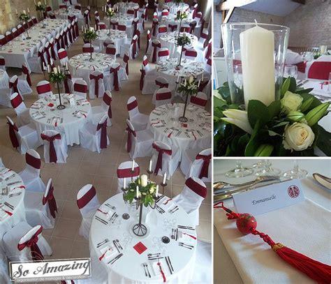 decoration pur  mariage blanc  rouge bordeaux