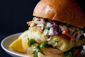 Lighter Fried Fish Sandwich Recipe with Creamy Coleslaw ...