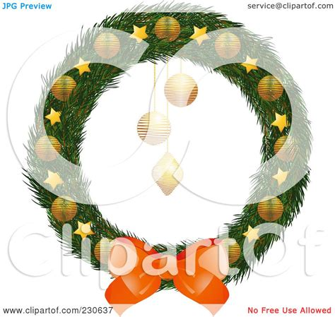 royalty free rf clipart illustration of a wreath with a bow and gold and