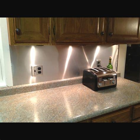 aluminum kitchen backsplash our low budget kitchen backsplash aluminum roof flashing 17 dollars diy i ve done