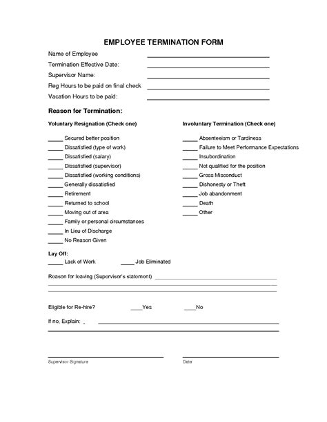 termination of employment form template 9 best images of employee termination notice form free employee termination form template