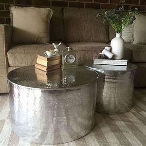 set of 2 metal round side tables aluminium coffee tables With round metal drum coffee table