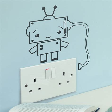 Creative And Wall Socket Stickers by Socket Robot Vinyl Wall Sticker By Oakdene Designs