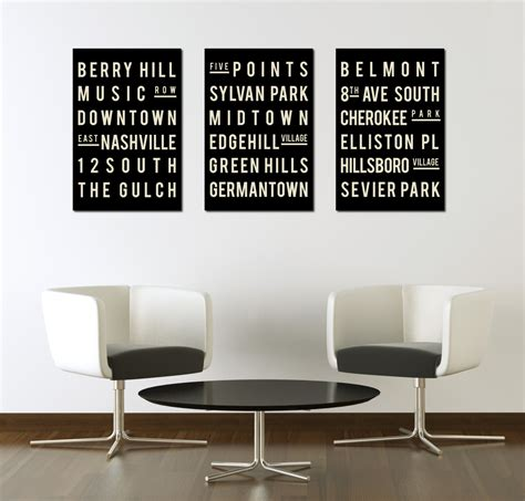 subway sign nashville typography print giclee art poster