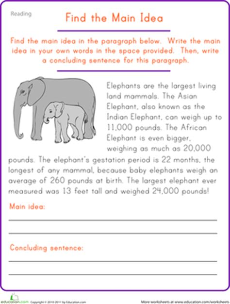 find the main idea elephant worksheet education