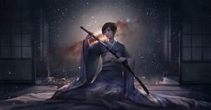 Anime, Girls, Original, Characters, Kimono, Japanese, Clothes, Katana, Sword, Short, Hair, Room