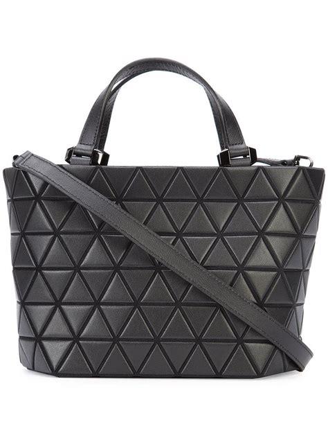 bao bao issey miyake leather medium tote bag  black lyst