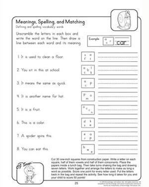 meanings spellings matching  grade printable