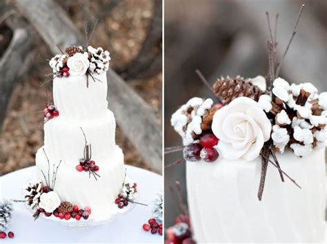 Gorgeous Winter Wedding Cake With Red Berry Twig And Pine