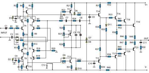 high power audio amplifier  circuit schematic diagram
