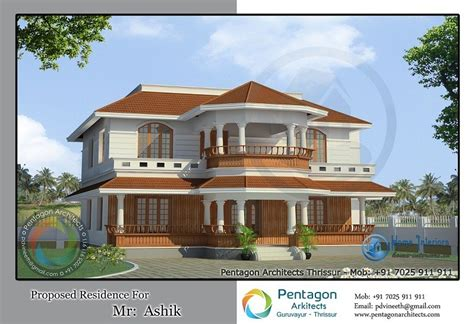 traditional style double floor kerala home design