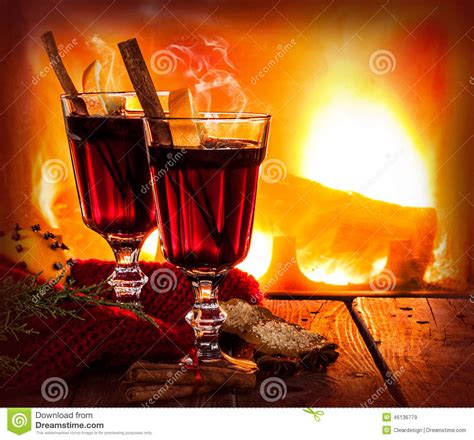hot mulled wine  fireplace background winter warming