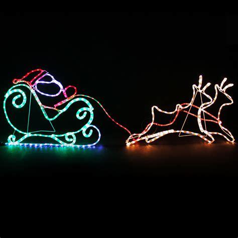 2 reindeer santa rope lights silhouette outdoor garden