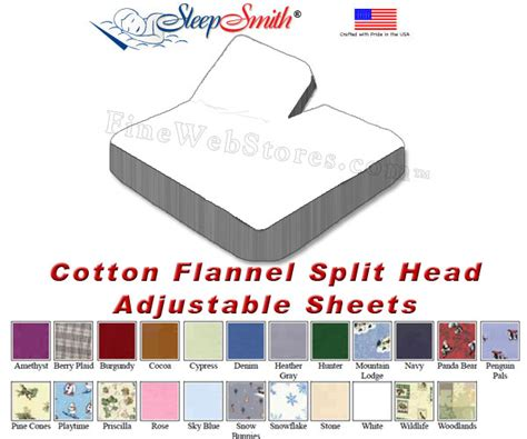 cotton flannel california king split head adjustable sheets