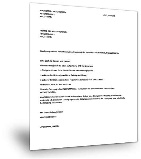 Kfz Versicherung Kuendigen by K 252 Ndigung Kfz Versicherung Muster