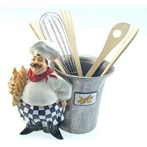 Fat French Italian Chef Utensil Holder Kitchen Home Decor