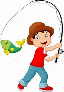 niño de dibujos animados de pesca — Vector de stock ...