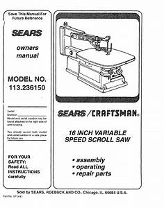 Sears Saw 113 23615 User Guide