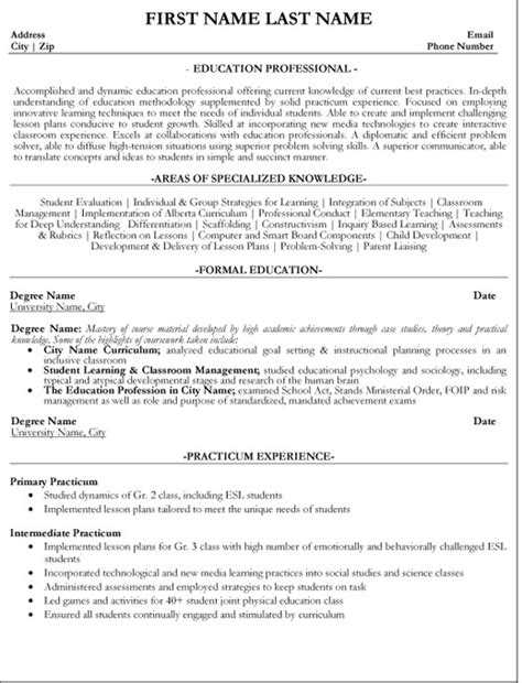 Professional Resumes For Educators by Top Education Resume Templates Sles