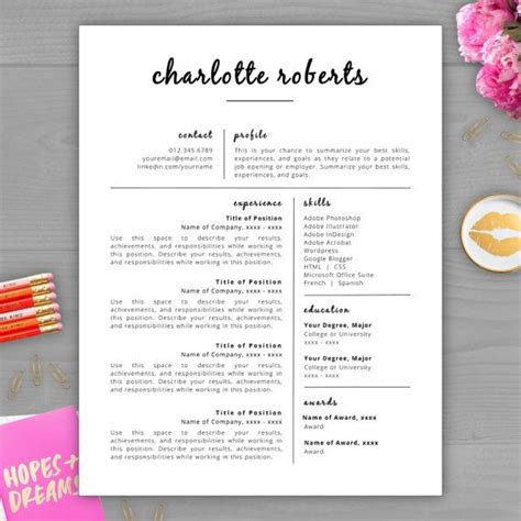 Cv Layout Word by Creative Resume Template Resume For Word Pages