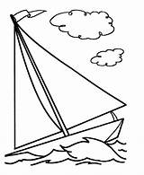 Coloring Pages Boat Sailboat Simple Printable sketch template