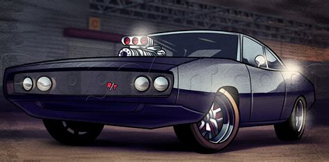 How To Draw The Fast And Furious, 1970 Dodge Charger, Step