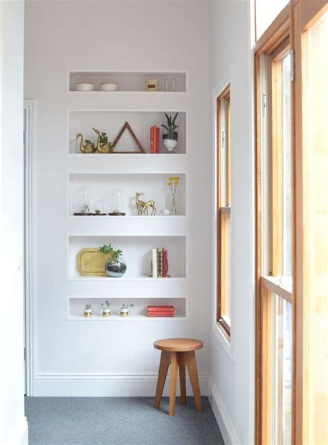 airy  functional niche shelves  modern decor