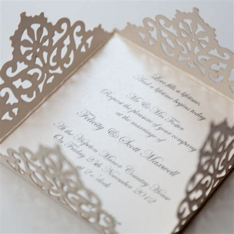 laser cut wedding invitations lace edged ivory square laser cut wedding invitation