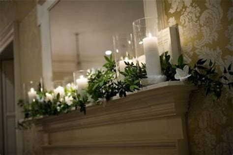 find  green garland  mantle decor