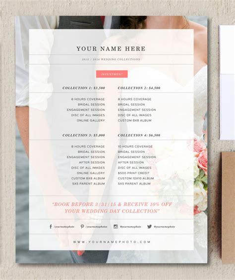 wedding photographer price list flyer templates