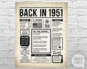 Back In 1951 Newspaper Poster PRINTABLE 1951 PRINTABLE | Etsy