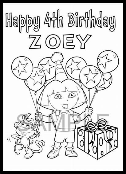 Birthday Coloring Happy Personalized Dora Party Pages