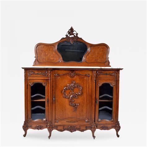 antique louis xv oak marble top sideboard buffet cabinet