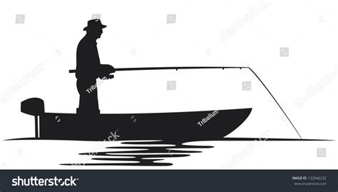fisherman silhouette vector fisherman boat silhouette stock vector 132946232