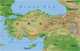 Physical Map of Turkey Mountains