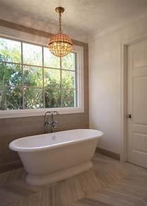Gray Chevron Floor Tiles - Transitional - Bathroom