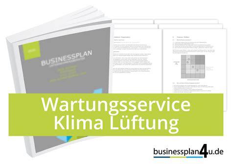 businessplan erstellen wartungsserviceklimalueftung