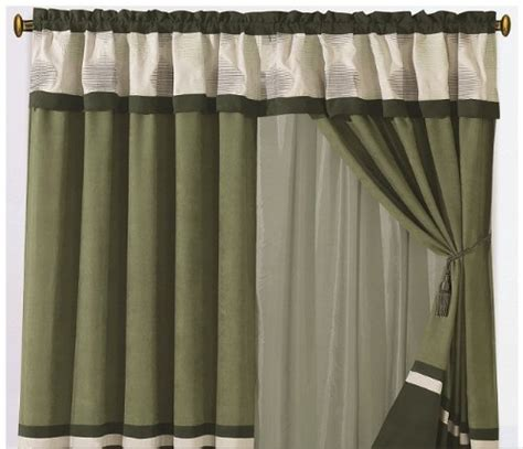 Olive Green Curtains Drapes - canopy bed valance