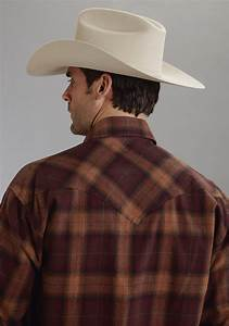 Men S Dress Shirt Size Chart Big And Stetson Mens Red Brown Plaid Flannel Long Sleeve Snap