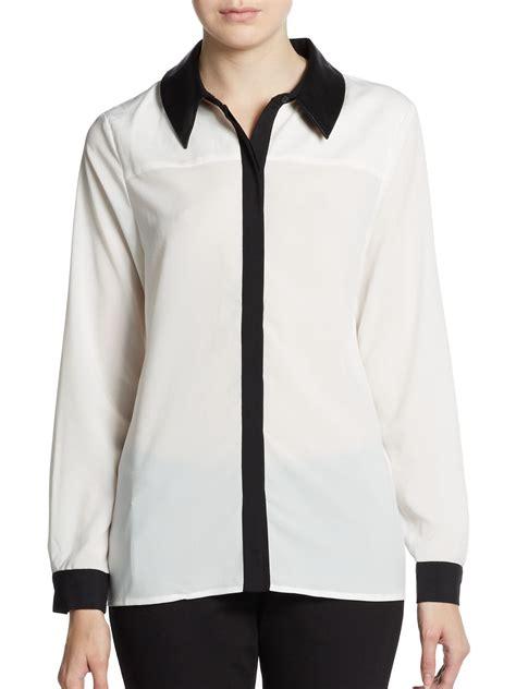 collar blouse saks fifth avenue black label faux leather collar blouse