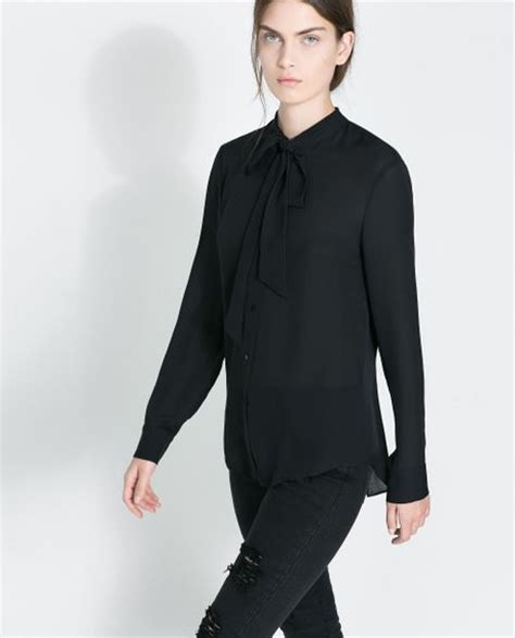 zara blouse zara silk blouse with bow in black lyst