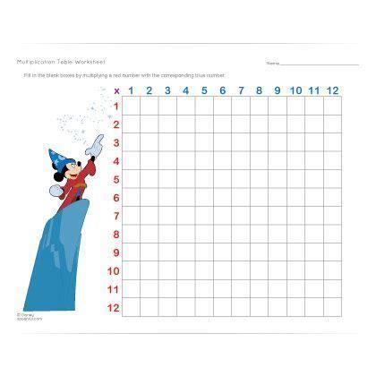 disney multiplication table worksheet learning